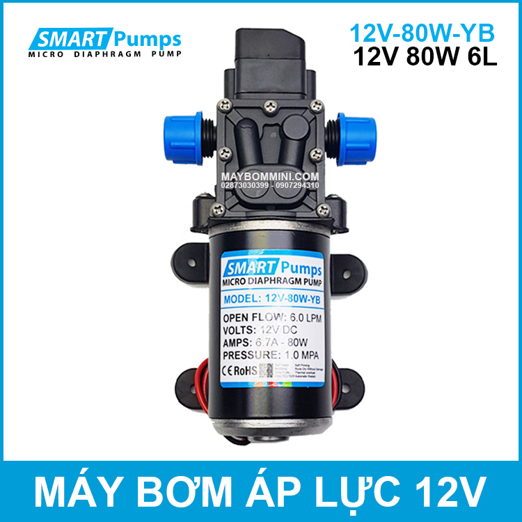 May Bom Ap Luc Mini Smarpumps 12V 80W 6L Chinh Hang