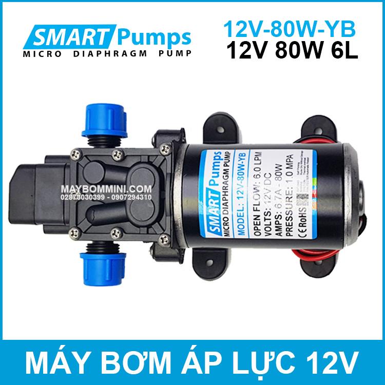 May Bom Ap Luc Mini Smarpumps 12V 80W 6L