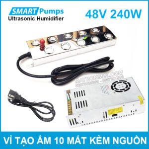 Vi Tao Khoi Phun Suong Tao Am Khu Trung Diet Khuan Sat Trung 10 Mat 48V 240W Smartpumps Kem Nguon Lazada