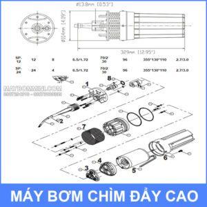 Kich Thuoc Bom Nuoc Bang Luong Mat Troi SURGEFLO SP 12