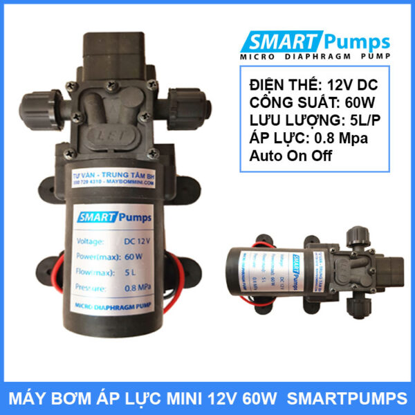 May Bom Ap Luc Mini 12v 60w Smartpumps Chinh Hang