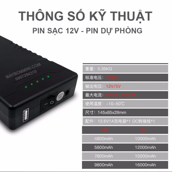 Thong So Ky Thuat Pin Sac 12v 7800mah