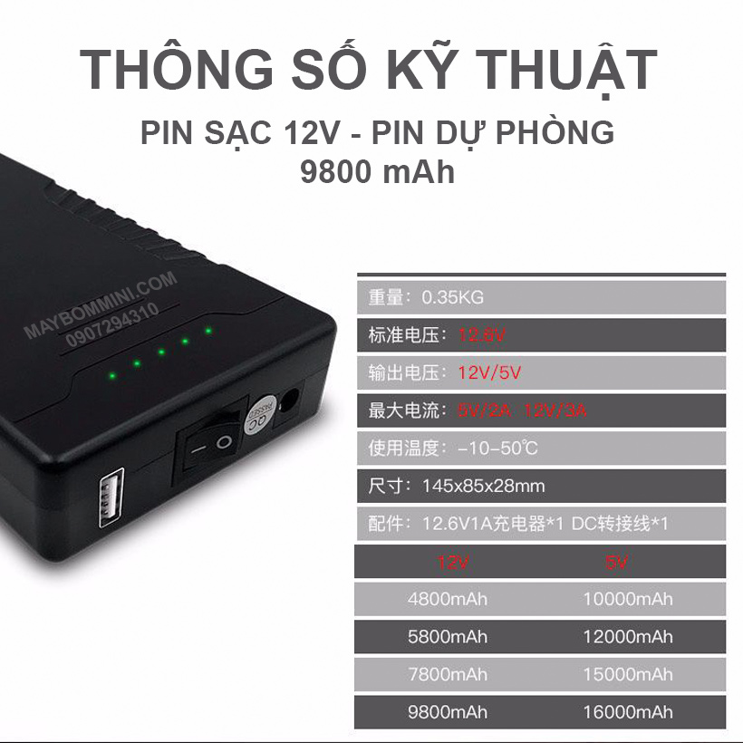 Thong So Ky Thuat Pin Sac 12v