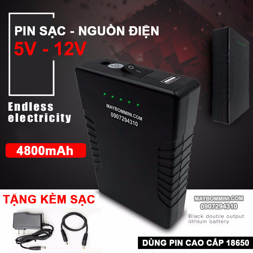 Box Pin Sac Du Phong USB 5V 12V 4800mah