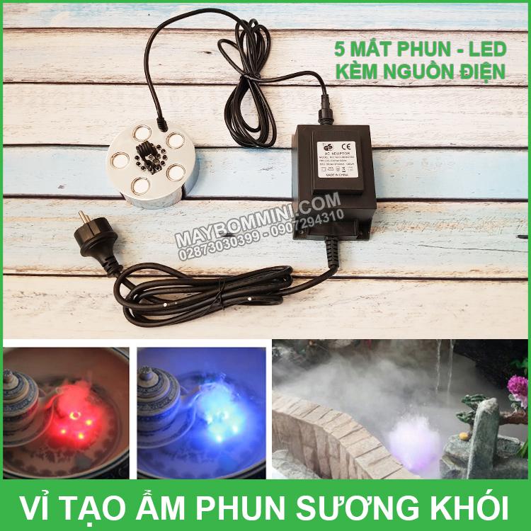 Vi Tao Am Phun Suong Khoi 5 Mat Va Den Led Kem Nguon Dien