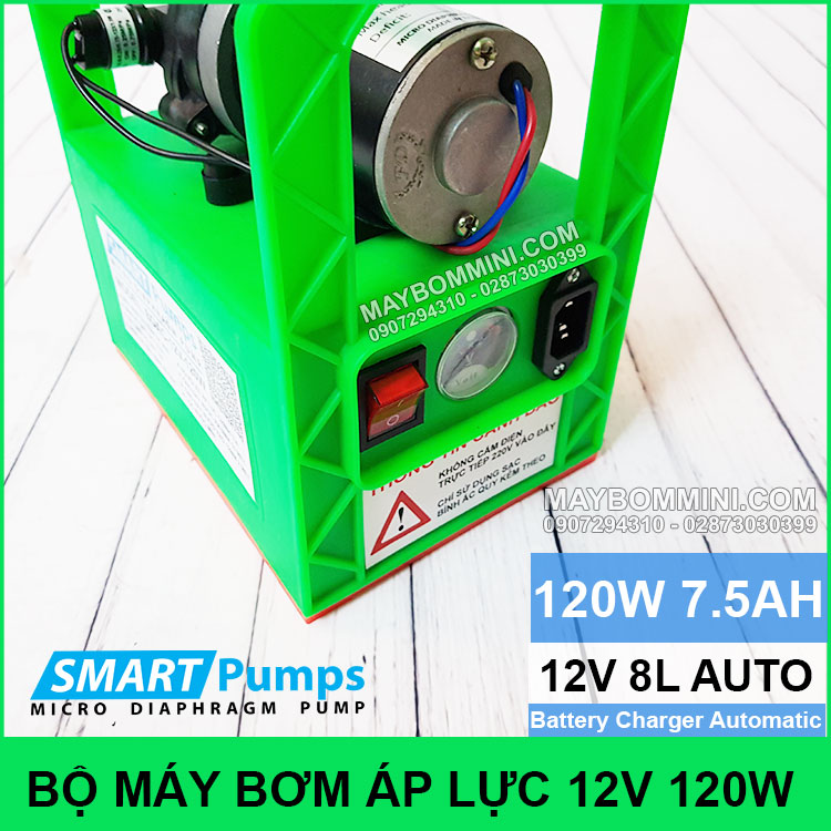 May Bom Mini Binh Ac Quy 12V 120W