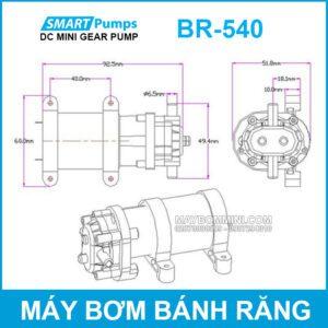 Kich Thuoc May Bom Banh Rang 12v 15w 2l DP 540 Smartpumps
