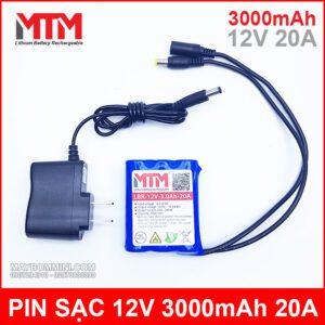 Pin Sac 12V 3000mah 20A Kem Sac Chinh Hang