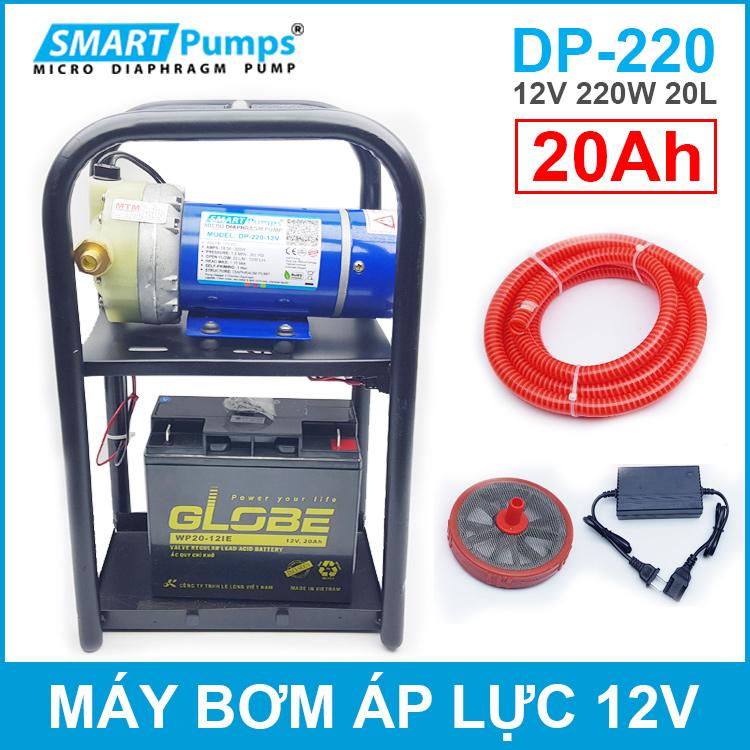 May Bom Ap Luc 12V 220W Smartpumps Ac Quy 20Ah