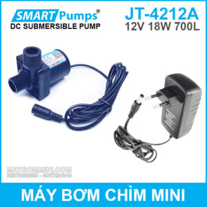 May Bom Chim Mini 12v 18w 700l JT 4212A Smartpumps Kem Nguon 12v