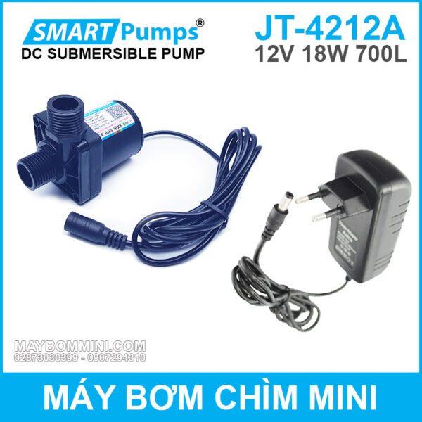 May Bom Chim Mini 12v 18w 700l JT 4212A Smartpumps Kem Nguon 12v