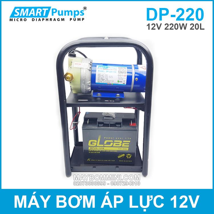 Bom Ap Luc Mini Su Dung Binh Ac Quy 12V 220W